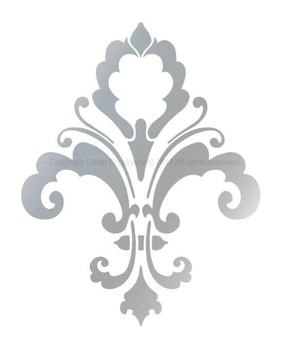 Fleur de lis designer wall decorative stencil chic decor - Moldes para pintar paredes ...