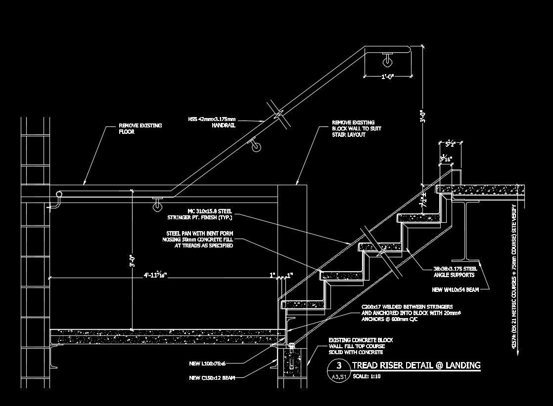 Free Cad Details Stair Landing Detail Cad Design