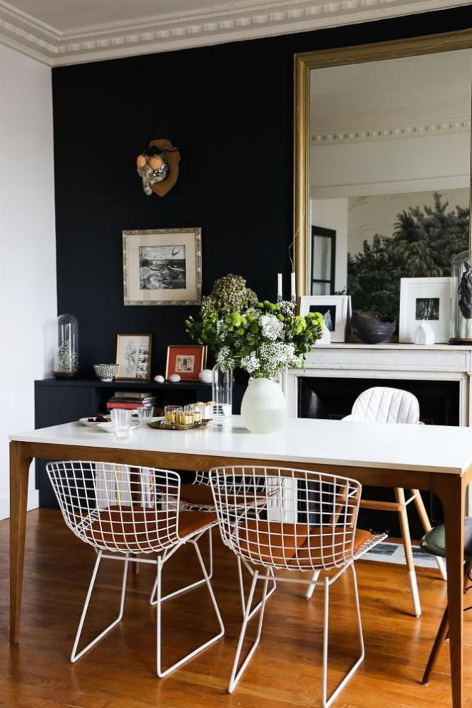 Salle à manger Salle à manger Chaises Harry Bertoia Peinture Bleue
