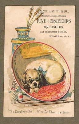 DOG RESTING BY SIR EDWIN LANDSEER RANNIE SMITH  CO ELMIRA NEW YORK 1880`S CARD