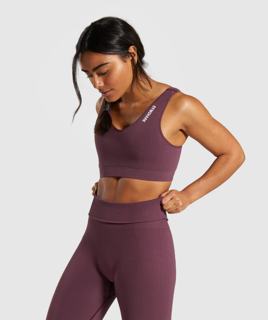 Gymshark Power Down Sports Bra Berry Red Sports Bra Womens Workout Outfits Low Support Sports Bra