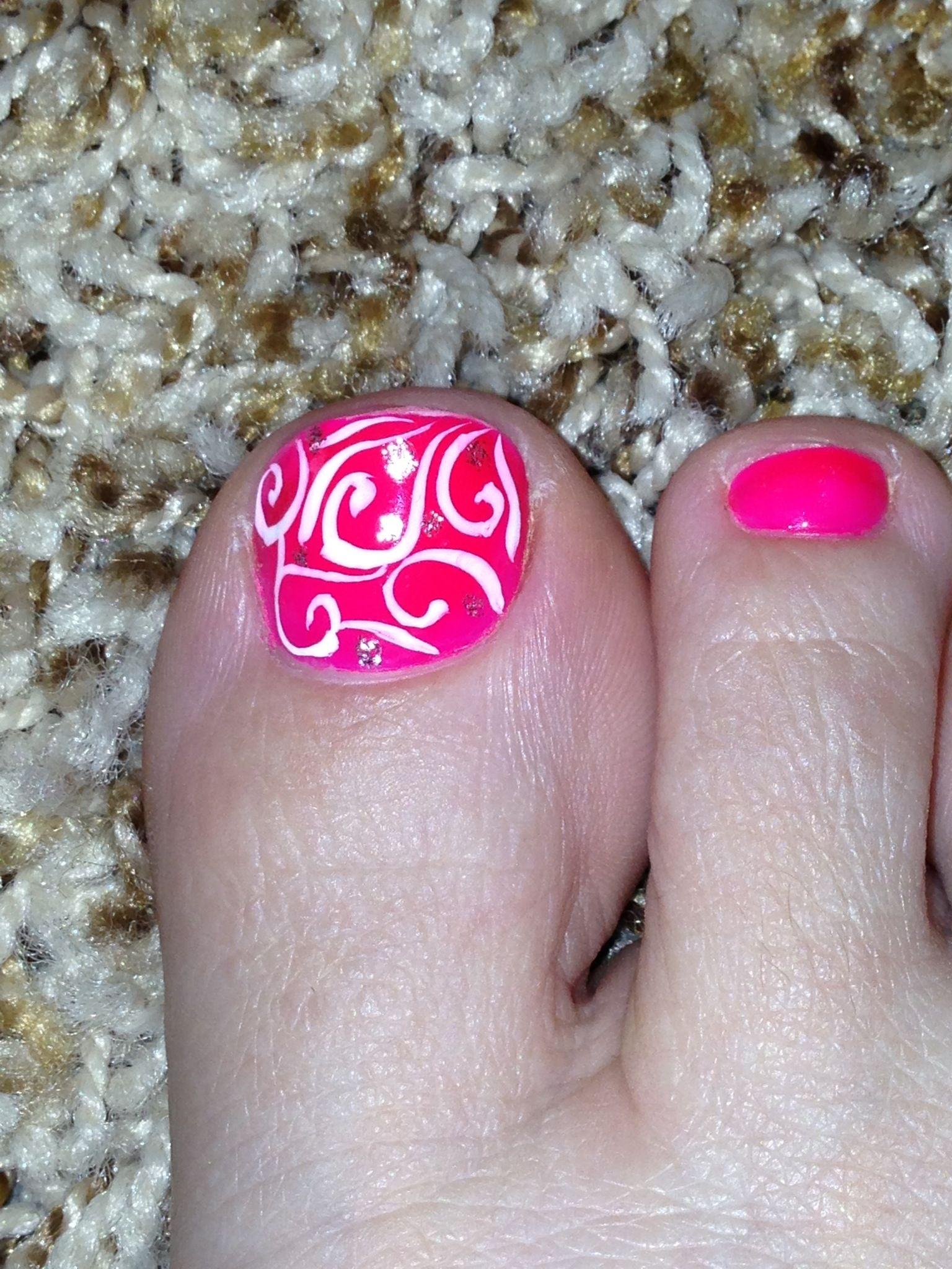 Toe Nail Design Swirls Art