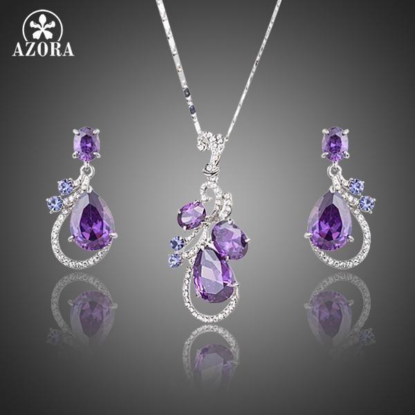 Azora Lastest Purple Top Grade Cubic Zirconia Water Drop Earrings Pendant Necklace Jewelry Sets Purple Jewelry Art Deco Necklace Deco Necklace