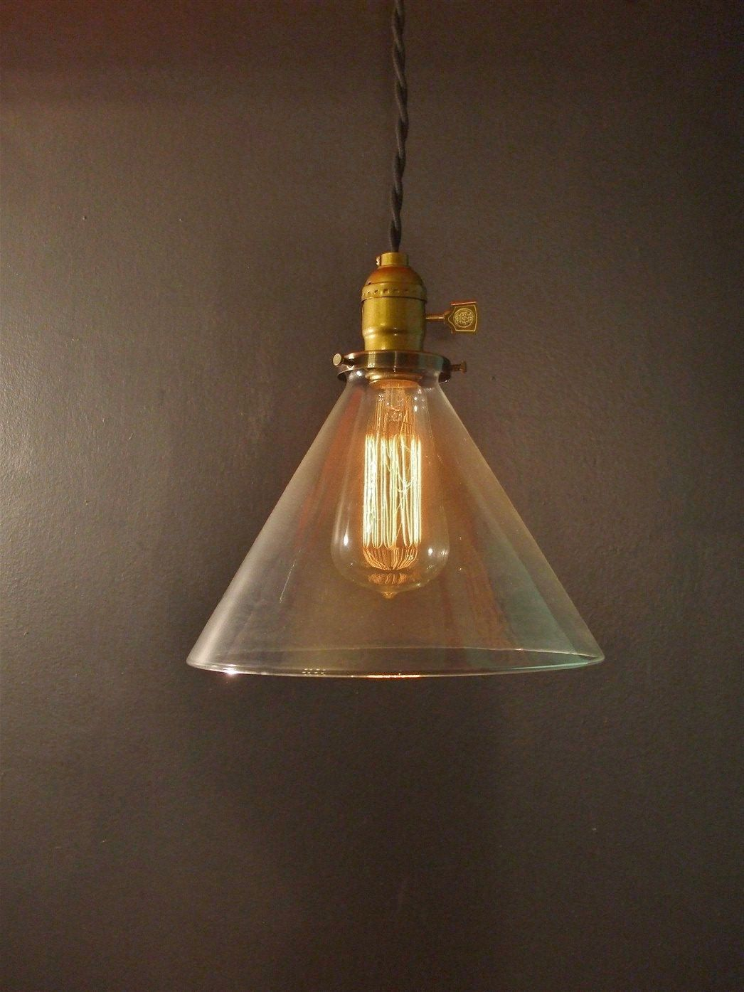 Special vintage style industrial edison ceiling lamp w bulb old - Vintage Industrial Hanging Light With Glass Cone By Dwvintage 137 95