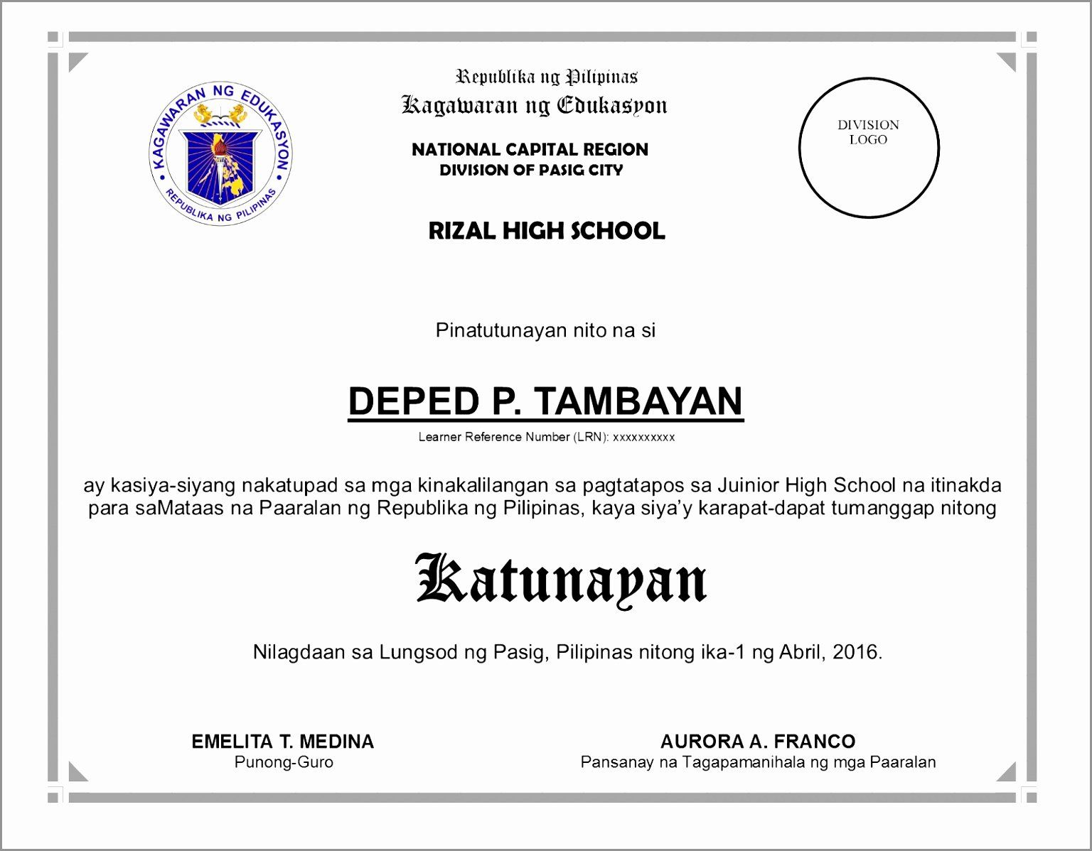 High School Diploma Template Word Luxury 7 Fake High