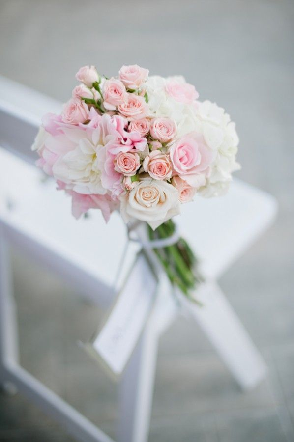 Pink Bouquet Ceremony Chair Marker at Wedding Ceremony