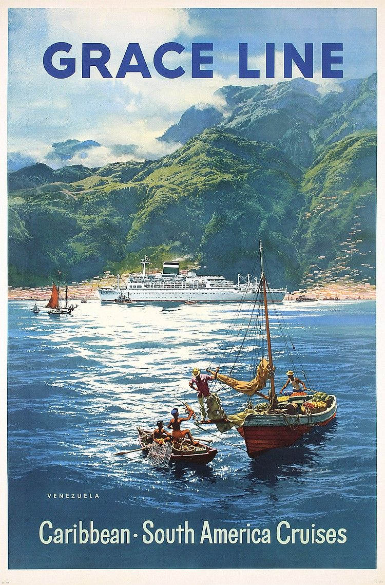 Sold Price Original Vintage 1950s Grace Line Travel Poster Beauty May 6 0116 1 00 Pm Pdt Travel Posters Vintage Travel Posters Ship Poster