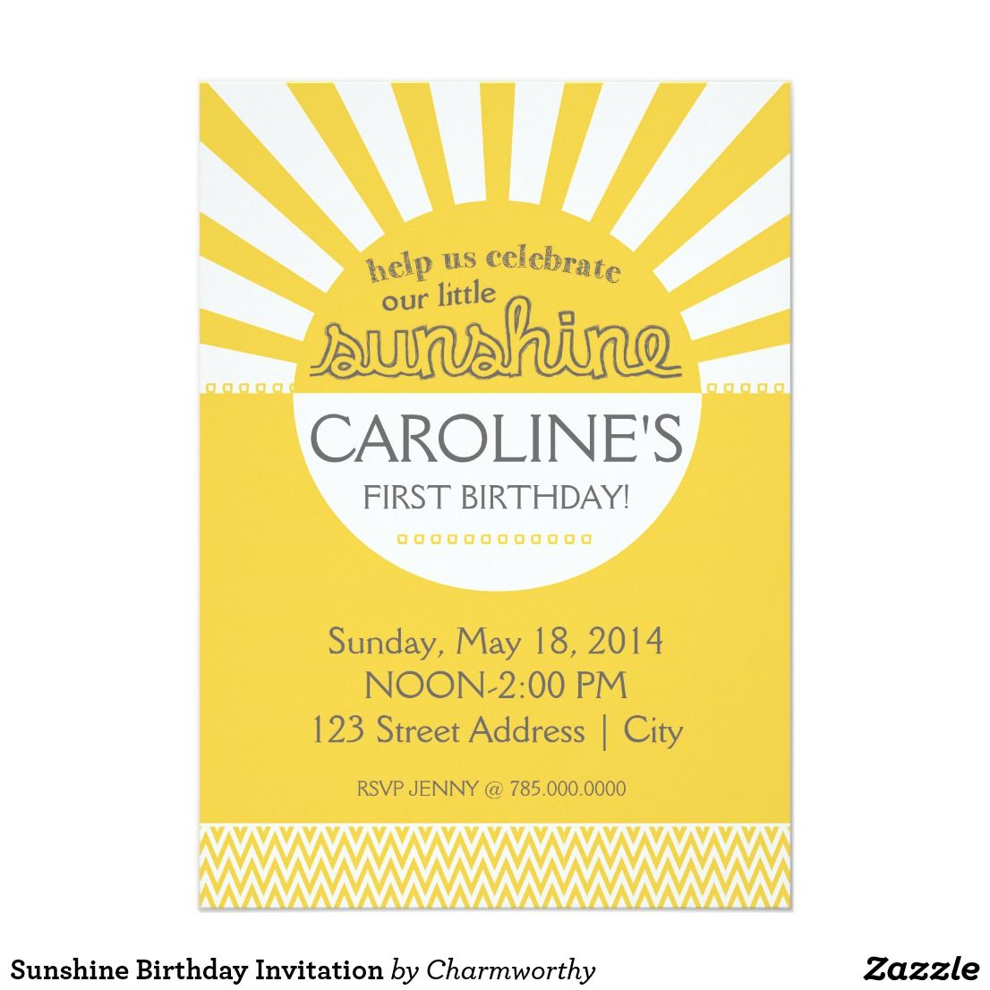 Sunshine Birthday Invitation \'You are my Sunshine\' is a cute party ...