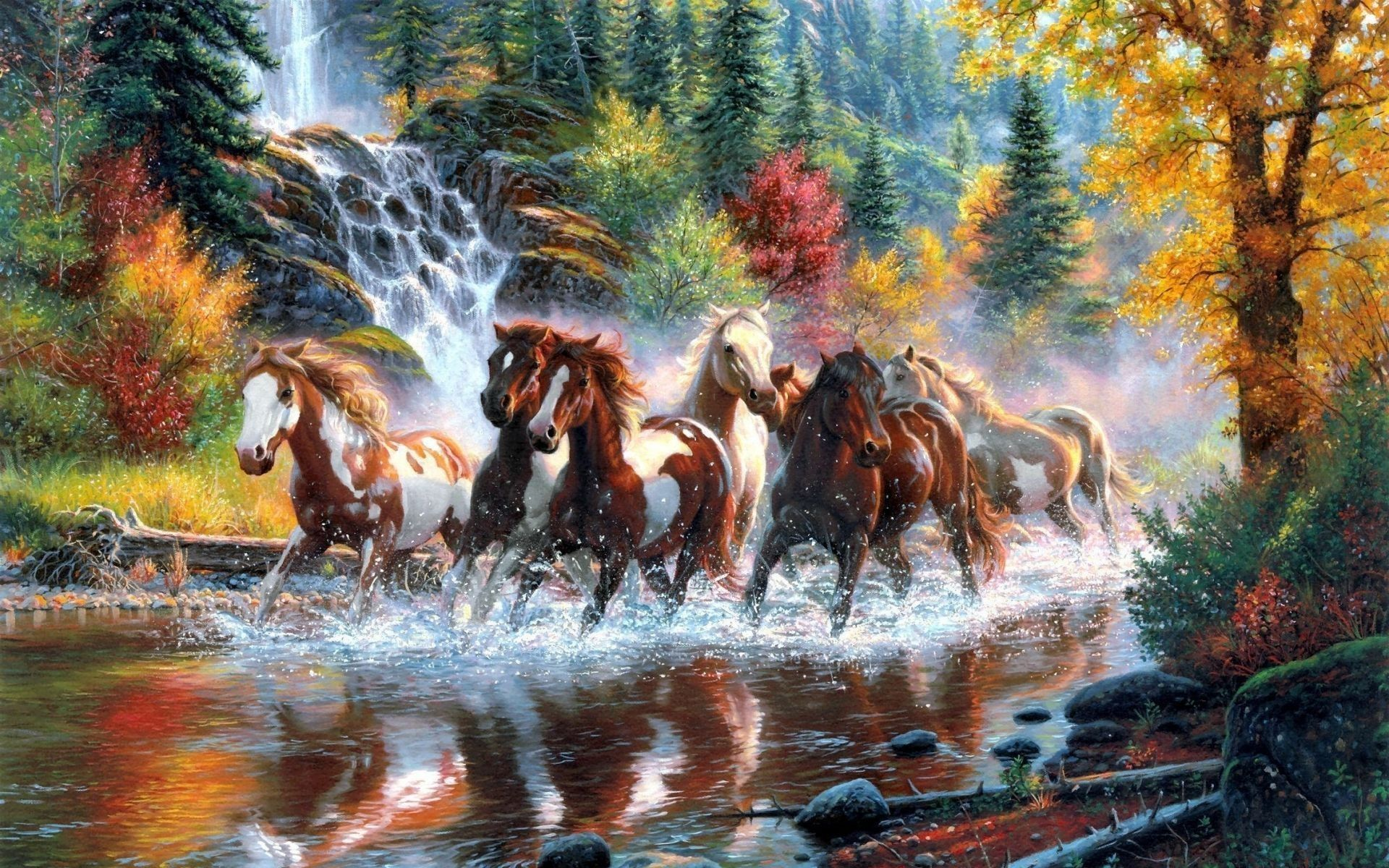 57 Running Horses Wallpapers On Wallpaperplay Horse Painting Diy Canvas Wall Art Horse Illustration