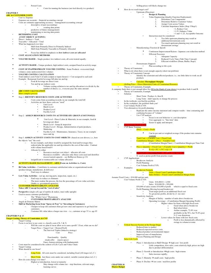 Managerial Accounting Mid Term Cheat Sheet Accounting