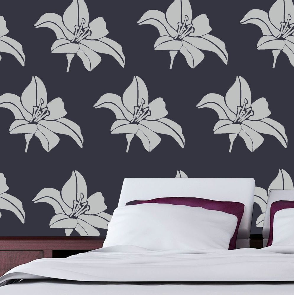 Lily Flower Stencil Floral Wall Decor Art Craft Paint Reusable Ideal