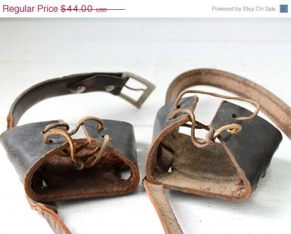 Holiday Sale antique leather snowshoe by Luncheonettevintage, $33.00