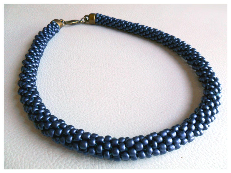 Beading_collar tejido con mostacillas en azul by www.facebook.com/Rolina.easygoing