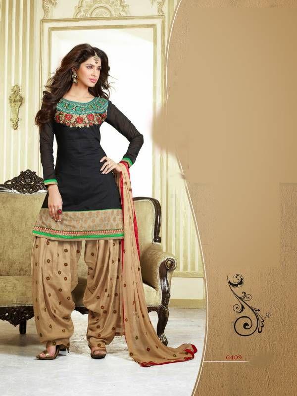 Black And Beige Chanderi Cotton Patiyala Patiala Salwar Kameez