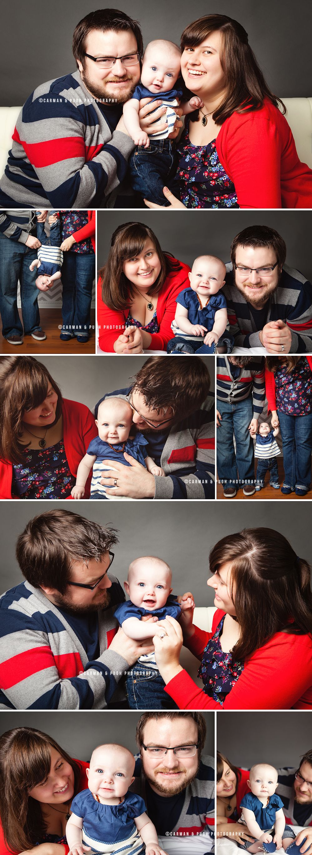 family portraits in studio, red and blue color scheme, what to wear ...