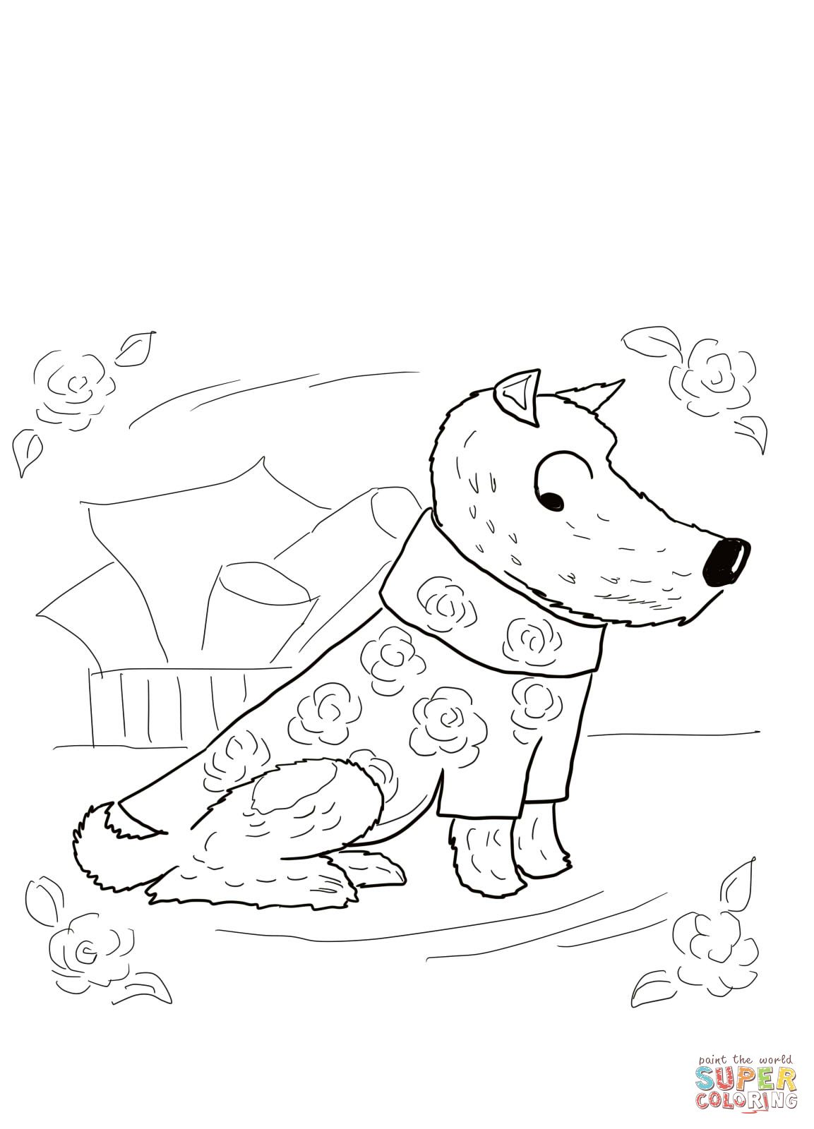 harry the dirty dog roses shirt coloring page | Retelling and Story ...