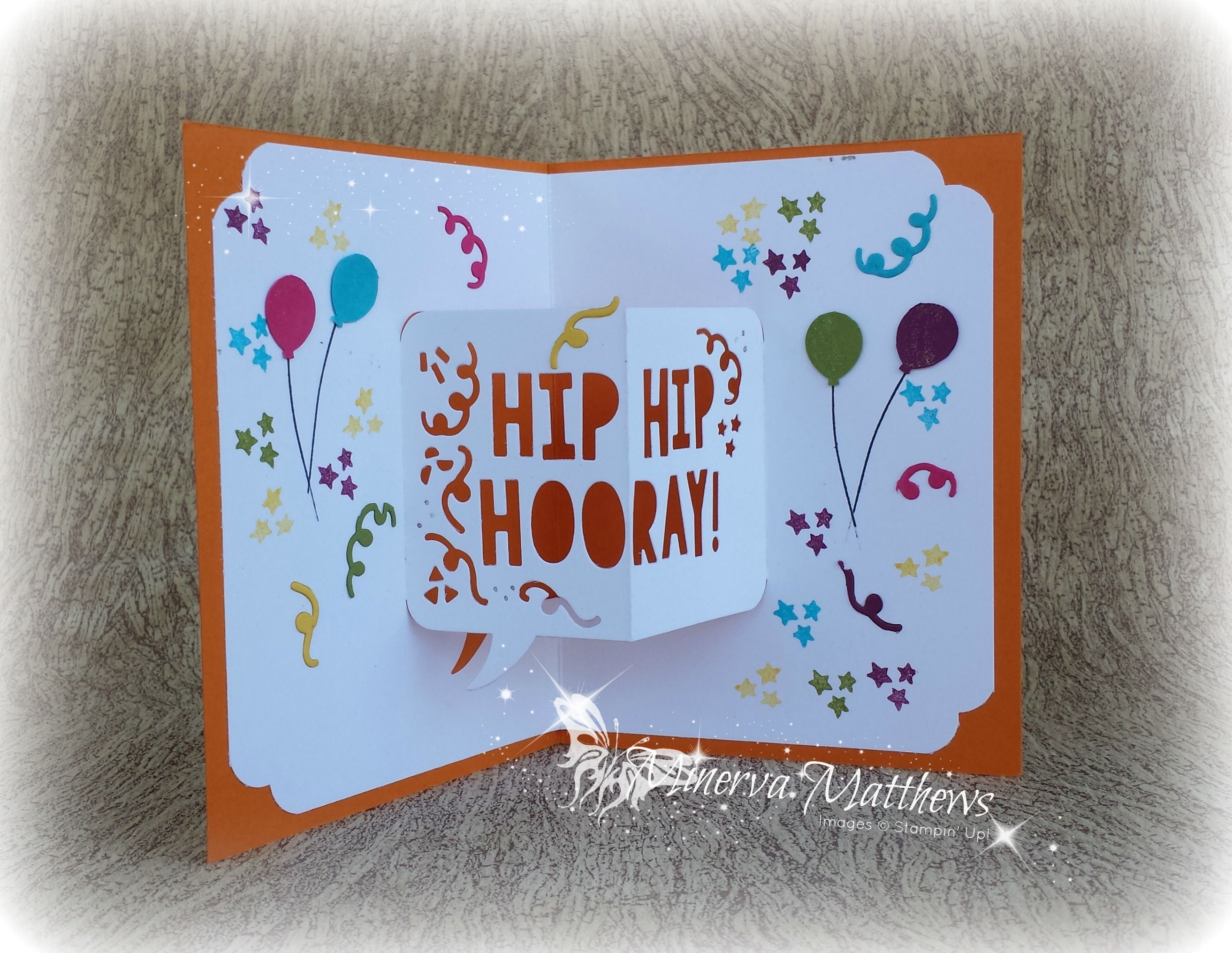 Fun birthday cards party with cake stamp set party popup thinlits