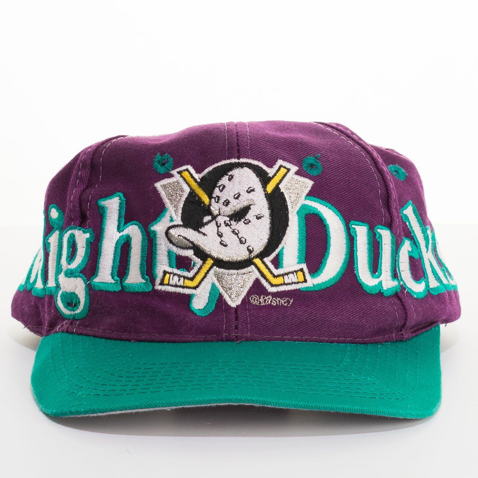Disney S Mighty Ducks Snapback Hat Vintage Hockey Logo 7 Baseball