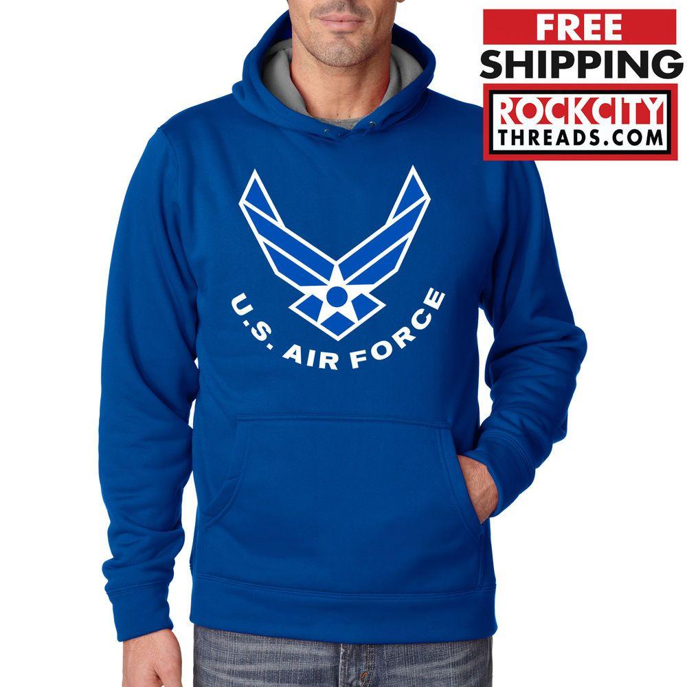 Air Force Logo Performance Hoodie Blue Usaf Us Hooded Sweatshirt U S Military Rockcitythreads Hoodie Performance Hoodie Hoodies Sweatshirts [ 1000 x 1000 Pixel ]