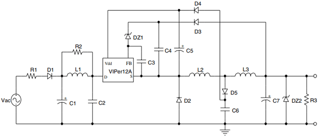 Circuit Using Viper2a In 2020 Power Supply Circuit Circuit Led Drivers