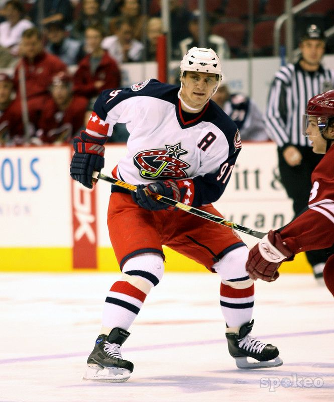 Sergei Fedorov, Columbus Blue Jackets--nice shot of the original jersey, don't care much for the player.