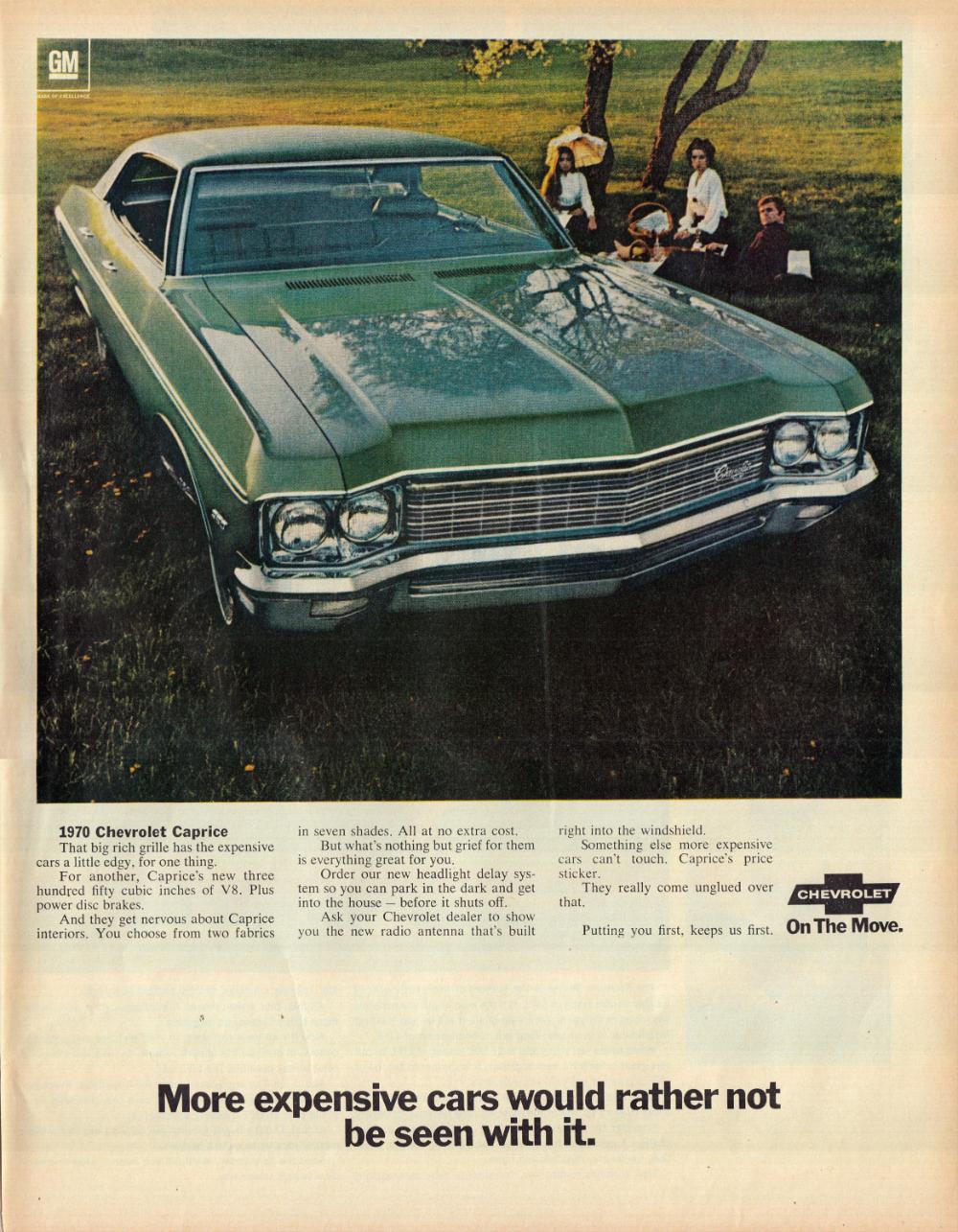 1970 Chevrolet Caprice 350 Cu In V 8 Family Picnic Original Etsy Chevrolet Caprice Chevrolet Vintage Ads