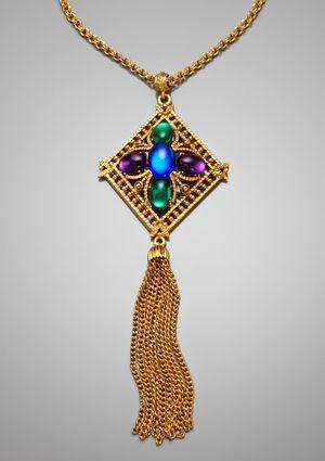 ideeli | ben-amun long multi-stone pendant with tassel necklace
