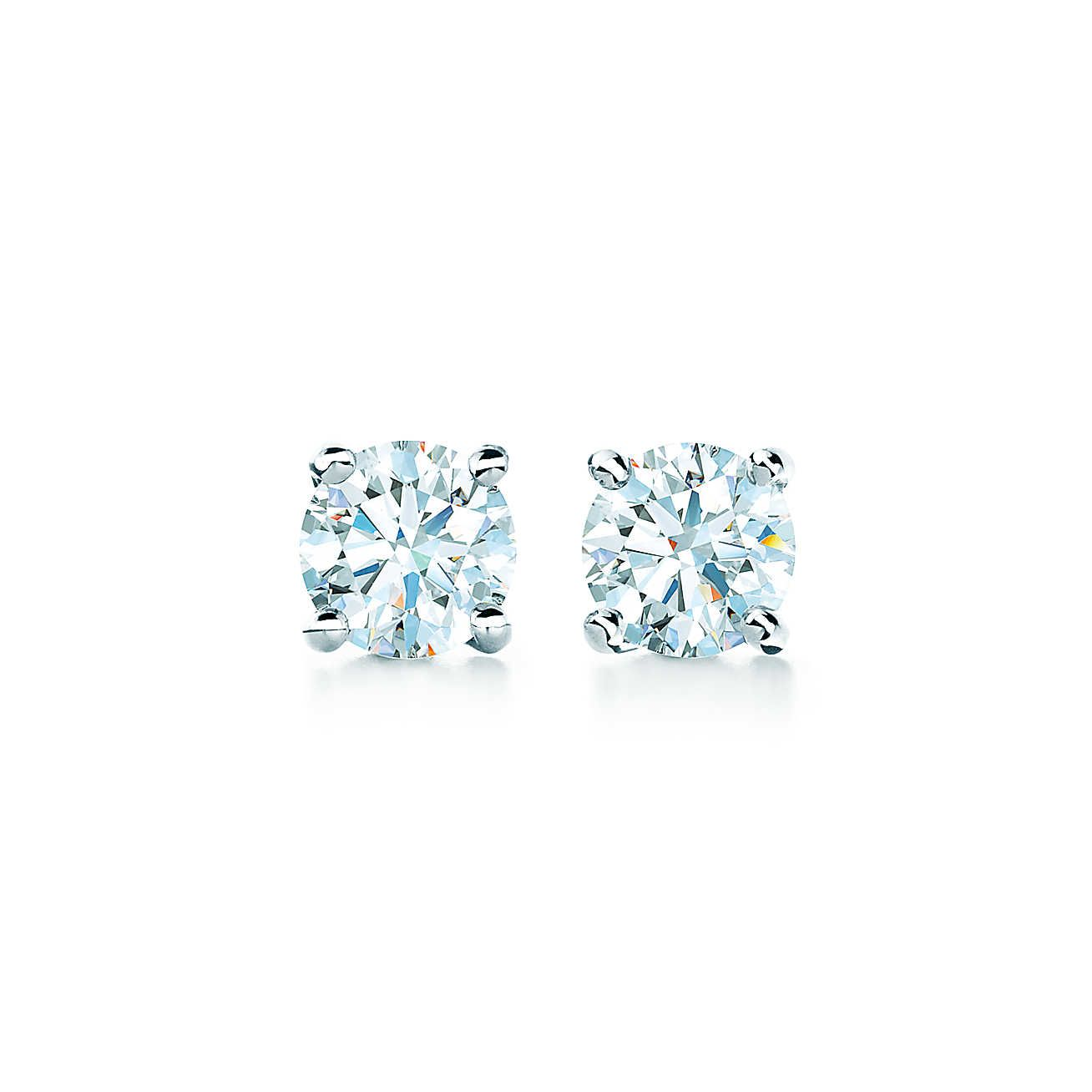 Tiffany Solitaire Diamond Earrings Sterling Silver Jewelry Pinterest And