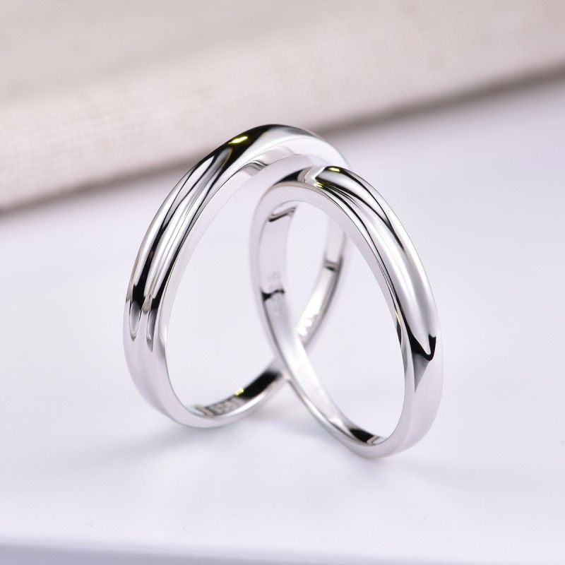 Uneven Silver Couple Rings