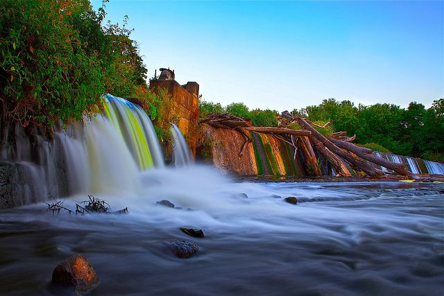 Misty Waterfall and Colored Stripes