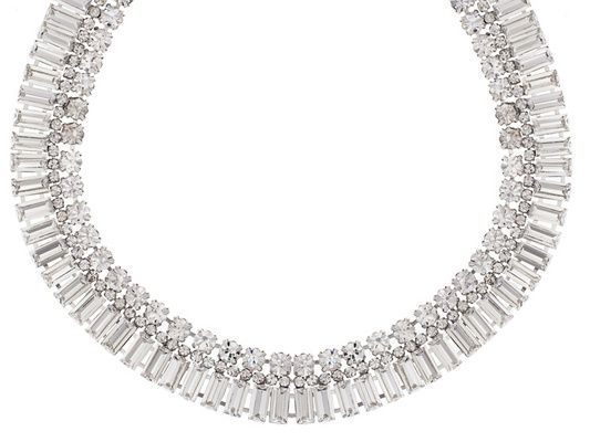 Michael Waterman (Tm) Silver Tone White Crystal Necklace