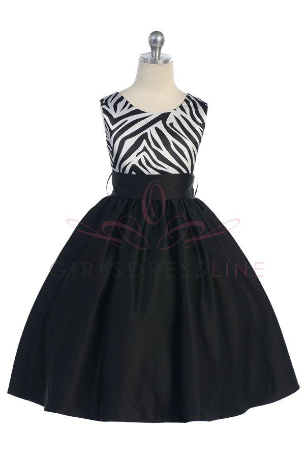 Zebra Print Satin Girls Dress T5466 $69.95 on www.GirlsDressLine.Com