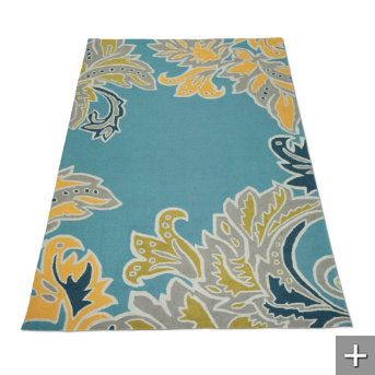 under my yellow kitchen table - will pull in the navy blue from the living room and tie in the gray walls in the kitchen ... one amazing rug  #