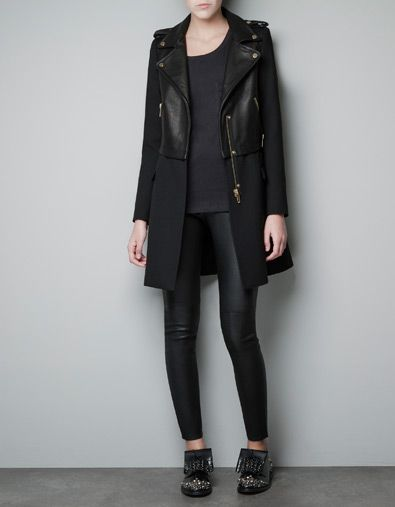 Winter Leren Jas Dames.Leren Jas Combi Mantels Dames Zara Winter Outfits Fashion