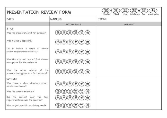 DT \ Engineering Resources Presentation Review Form - how to create evaluation form