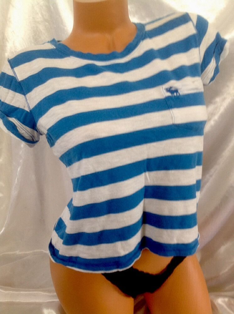 Abercrombie & Fitch T Shirt Small S Women Cropped Crop Blue White Stripes