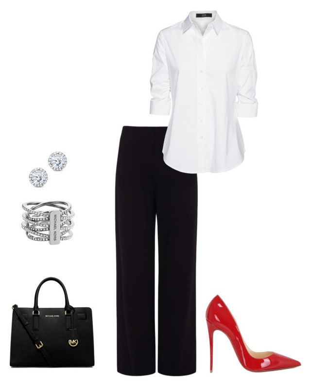 """Adding a POP of color to your work outfit."" by pstrats on Polyvore featuring Pink Tartan, Steffen Schraut, Christian Louboutin, MICHAEL Michael Kors, Michael Kors and Kobelli"