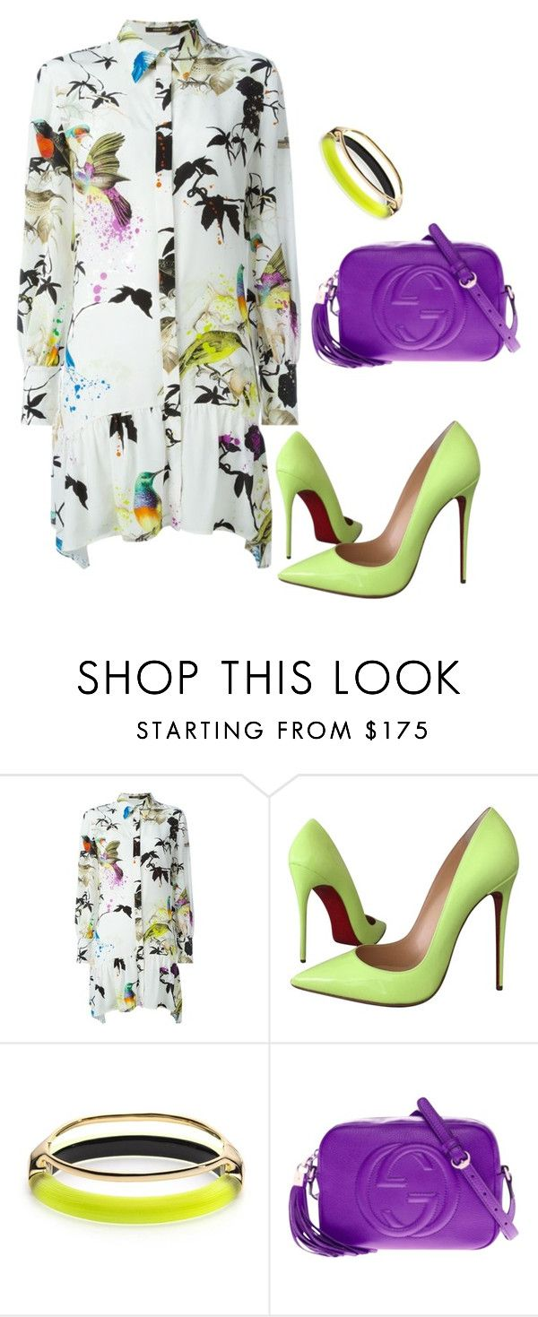 """""""Untitled #825"""" by christawallace ❤ liked on Polyvore featuring Roberto Cavalli, Christian Louboutin, Alexis Bittar and Gucci"""