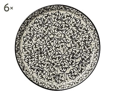 Set di 6 piatti piani in stoneware Manda nero, 2x20 cm