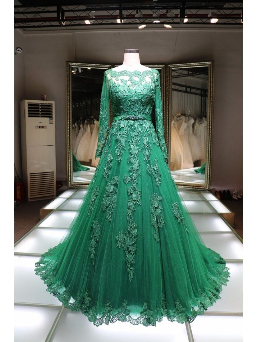 Aline long sleeves green lace prom formal evening party dresses