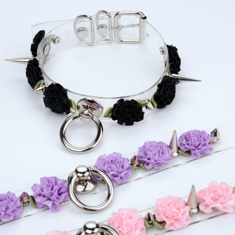 Lolita Cute Handmade Rose Spiked Collar Padlock Key Clear Leather Choker Collar