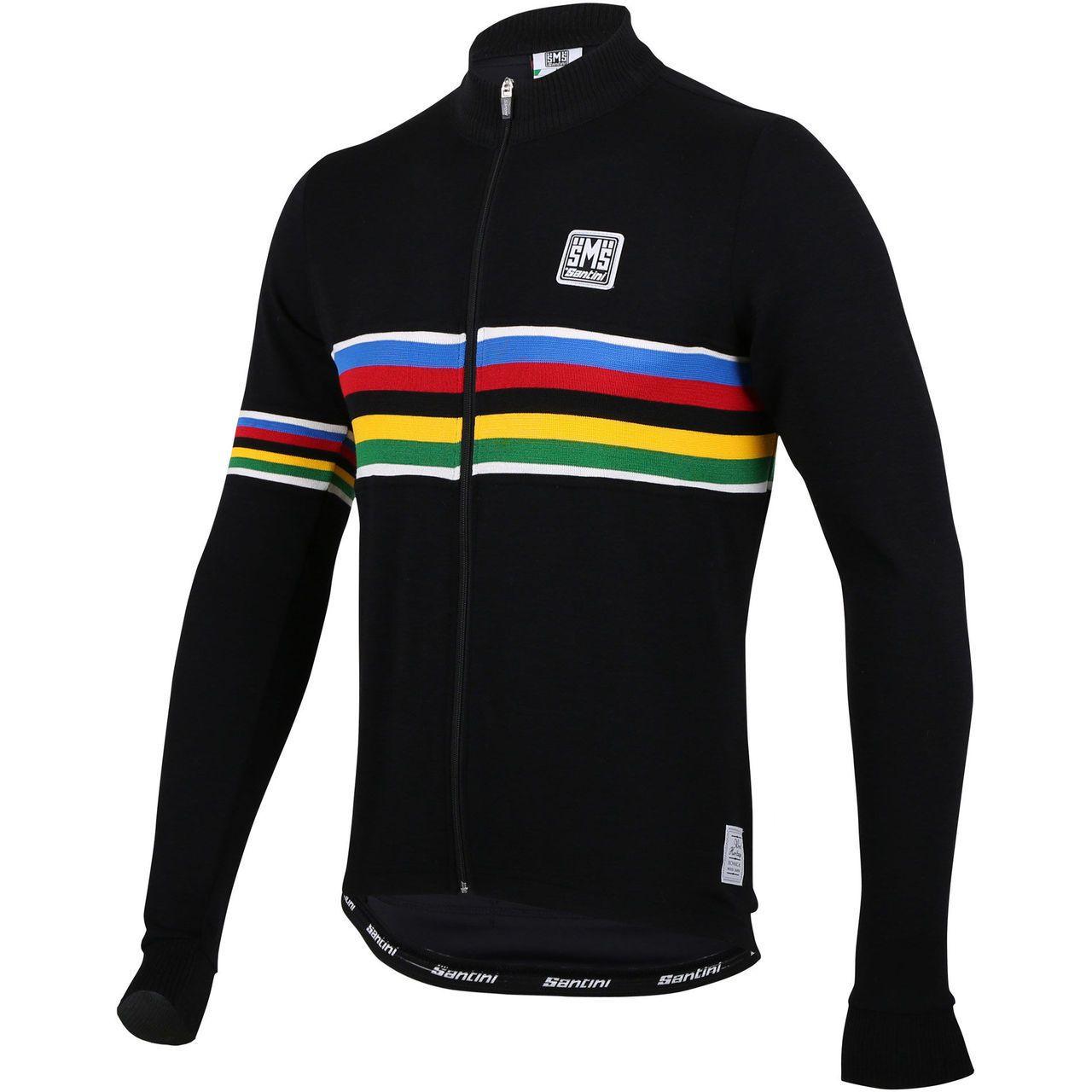 Santini Mens Uci Rainbow Design Wool Long Sleeve Jersey