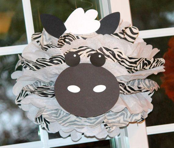 Zebra pom pom kit king of the jungle by TheLittlePartyShopNY