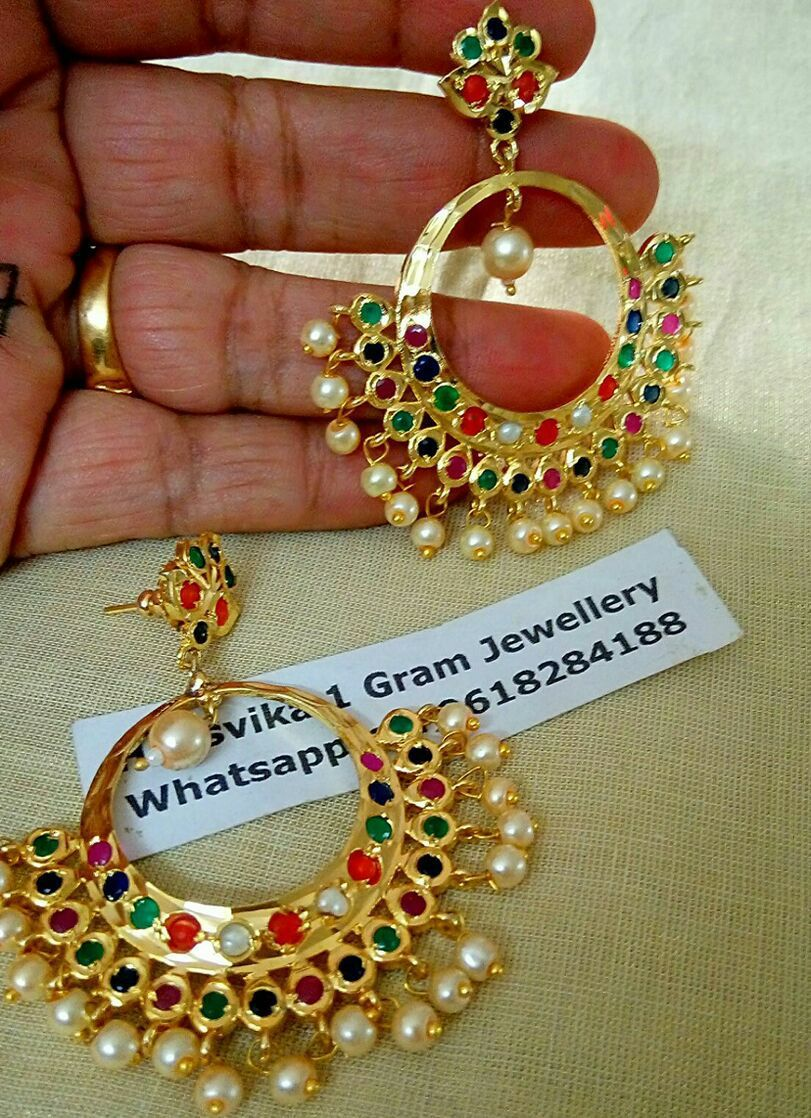 Price beautiful one gram gold chaandbali studded with multi