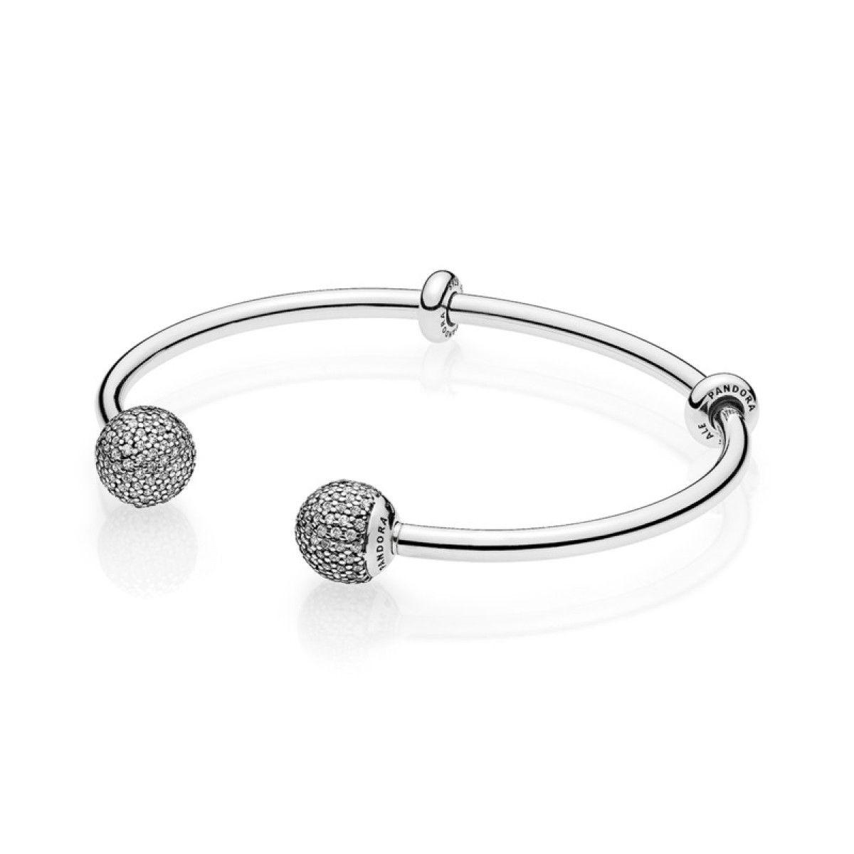 Moments Silver Open Bangle, Pavé Caps | Pandora bracelet charms ...