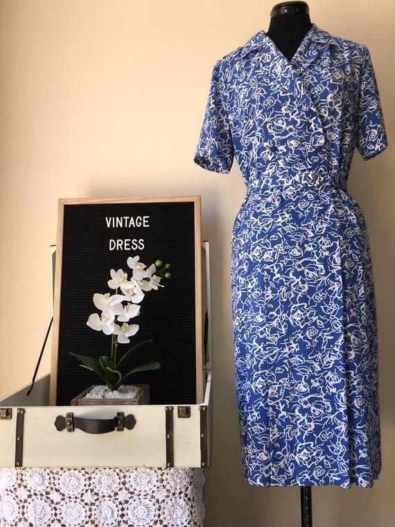 Vintage Retro Belt Dress #Original #shoulderpads #ootd #SecondHand #Preloved #reruns #VintageMaterial #VintageStyle #blue #circa