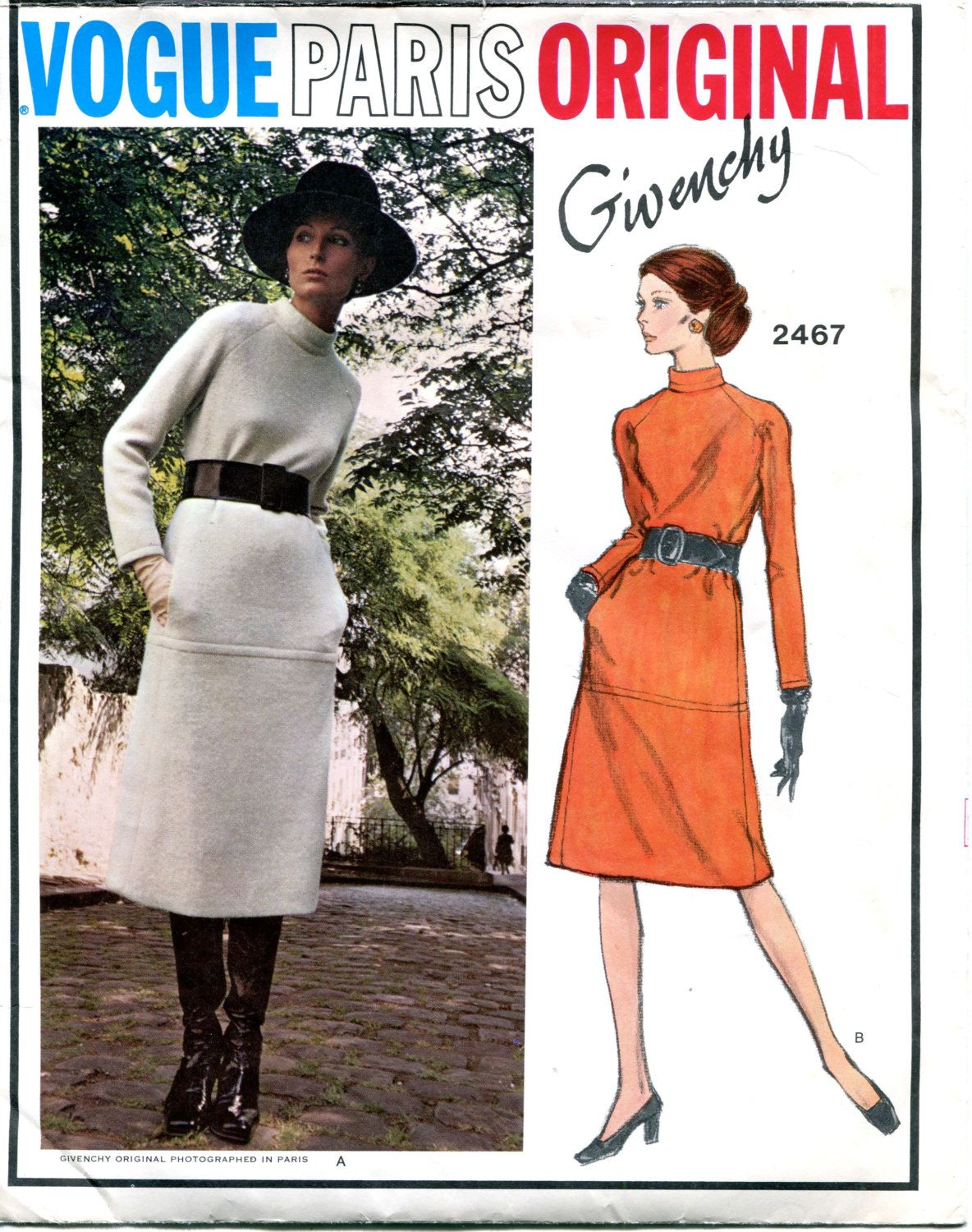 70s VOGUE DRESS PATTERN Standing Collar Turtleneck Givenchy