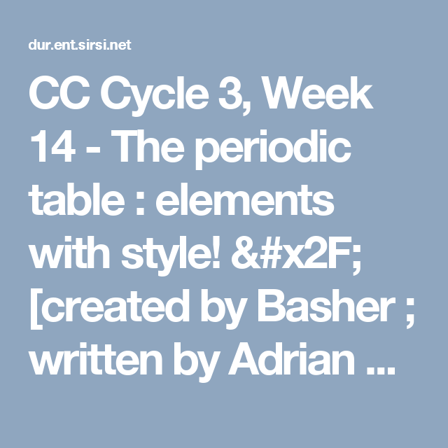 Cc cycle 3 week 14 the periodic table elements with style cc cycle 3 week 14 the periodic table elements with style urtaz Image collections