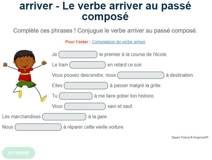 Exercice De Conjugaison Le Verbe Arriver Au Passe Compose Teaching French Teaching