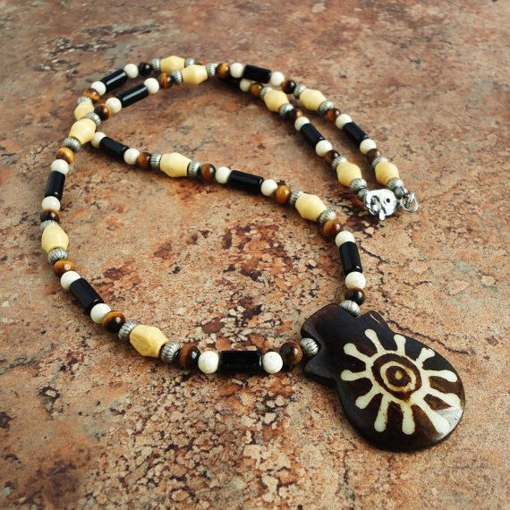 Tribal Necklace for Men Bone Stone Wood Mens Beaded Necklace